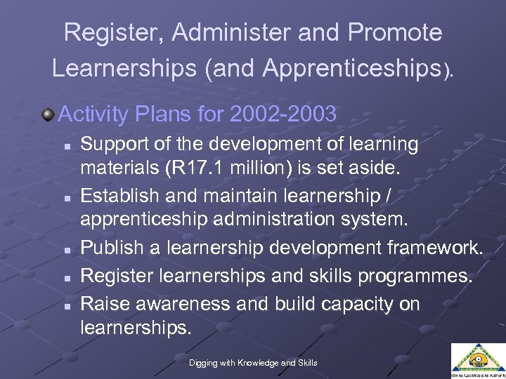 Register, Administer and Promote Learnerships (and Apprenticeships). Activity Plans for 2002 -2003 n n