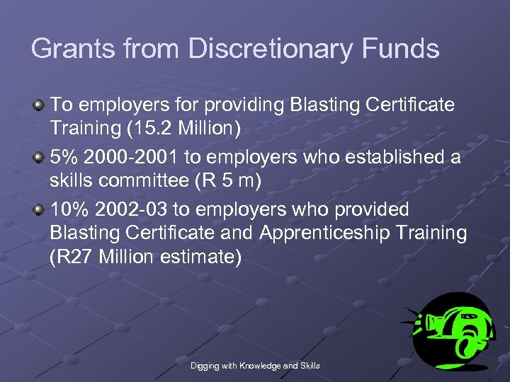 Grants from Discretionary Funds To employers for providing Blasting Certificate Training (15. 2 Million)