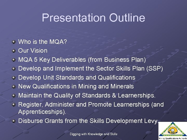 Presentation Outline Who is the MQA? Our Vision MQA 5 Key Deliverables (from Business