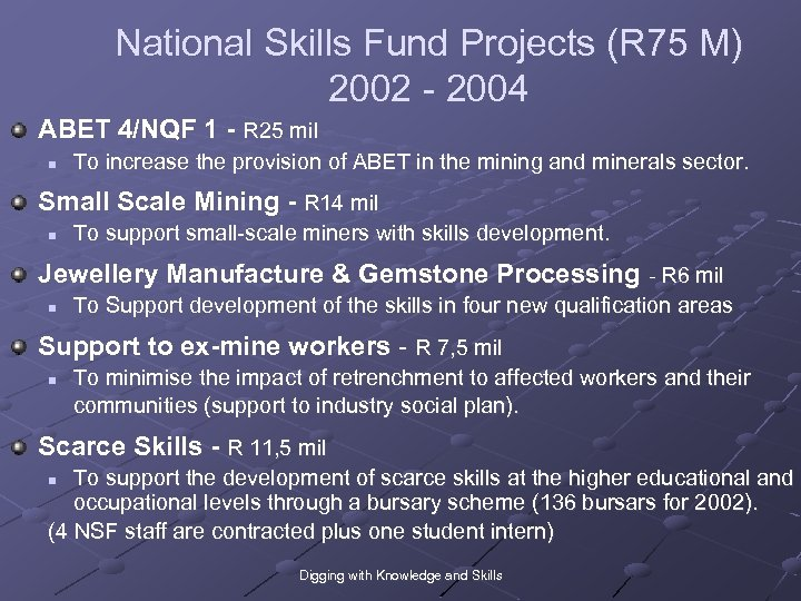 National Skills Fund Projects (R 75 M) 2002 - 2004 ABET 4/NQF 1 -