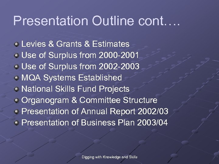 Presentation Outline cont…. Levies & Grants & Estimates Use of Surplus from 2000 -2001