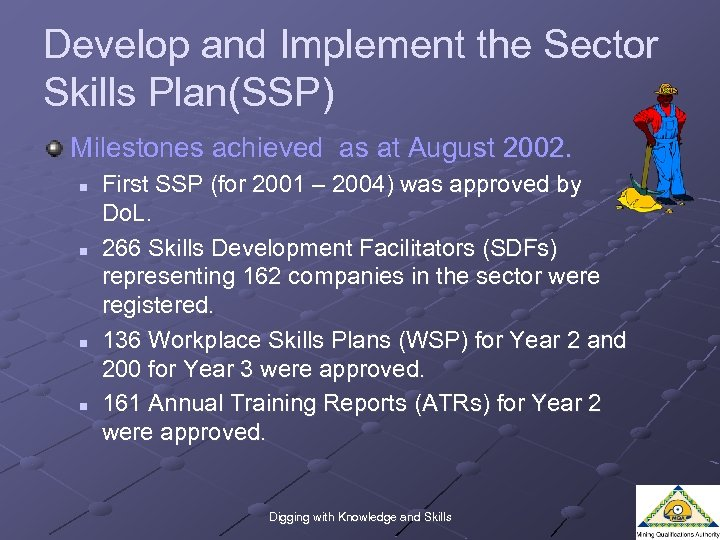 Develop and Implement the Sector Skills Plan(SSP) Milestones achieved as at August 2002. n