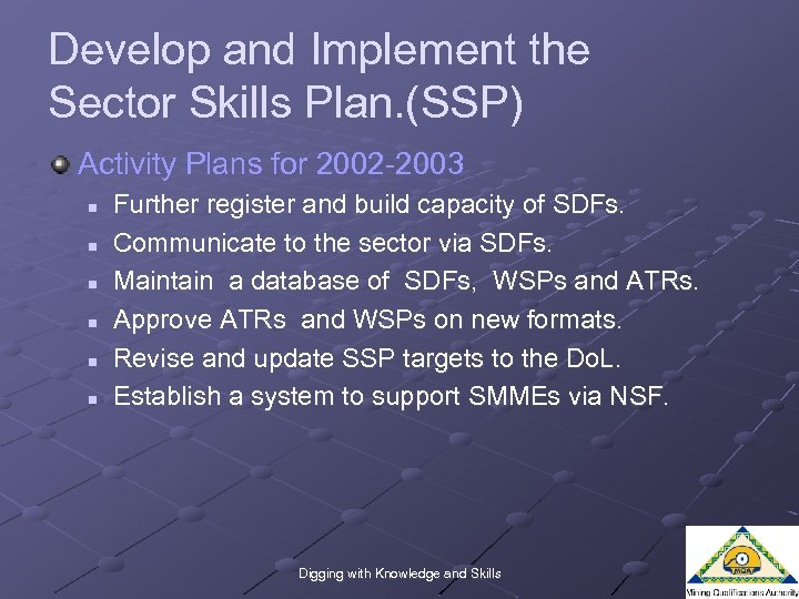 Develop and Implement the Sector Skills Plan. (SSP) Activity Plans for 2002 -2003 n