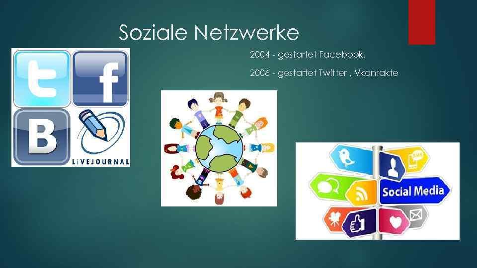 Soziale Netzwerke 2004 - gestartet Facebook. 2006 - gestartet Twitter , Vkontakte