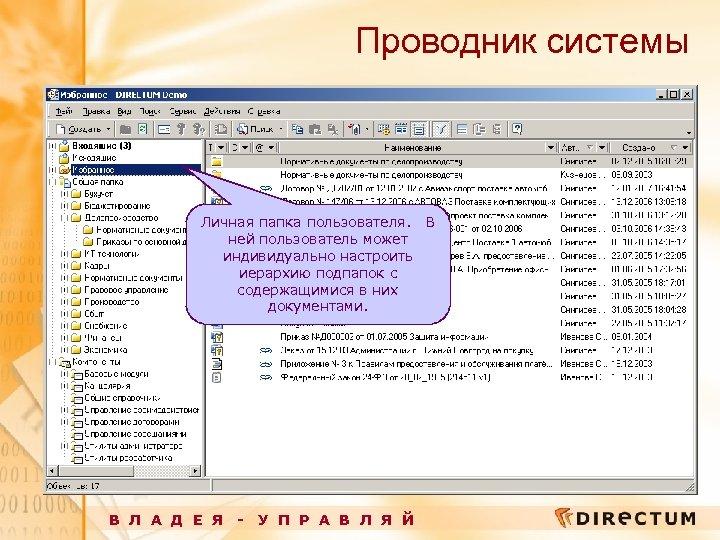 Проводник системы Личная папка пользователя. В ней пользователь может индивидуально настроить иерархию подпапок с