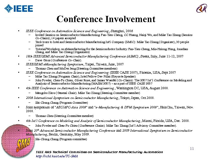Conference Involvement • IEEE Conference on Automation Science and Engineering, Shanghai, 2006 – Invited