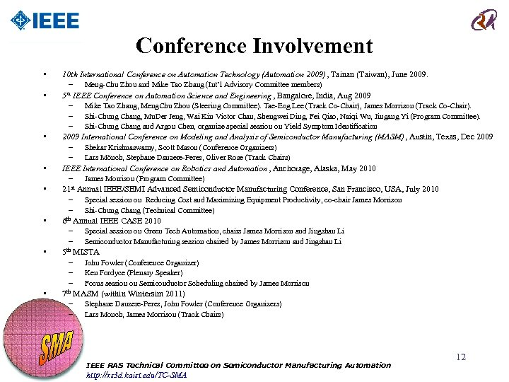 Conference Involvement • • 10 th International Conference on Automation Technology (Automation 2009), Tainan