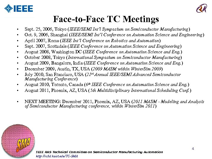 Face-to-Face TC Meetings • • • Sept. 25, 2006, Tokyo (IEEE/SEMI Int'l Symposium on