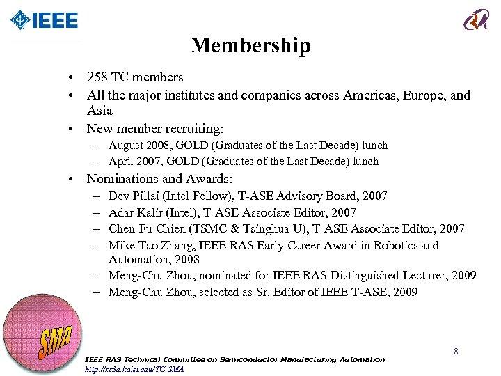 Membership • 258 TC members • All the major institutes and companies across Americas,