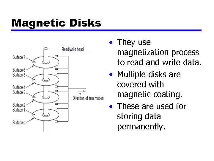 Magnetic Disks • They use magnetization process to read and write data. • Multiple