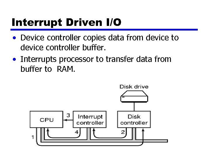 Interrupt Driven I/O • Device controller copies data from device to device controller buffer.