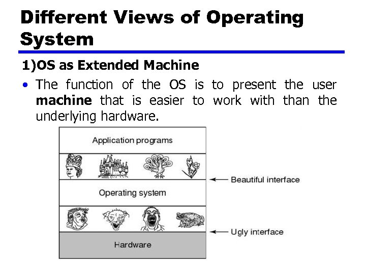 Different Views of Operating System 1)OS as Extended Machine • The function of the