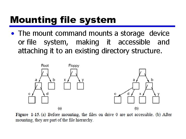 Mounting file system • The mount command mounts a storage device or file system,