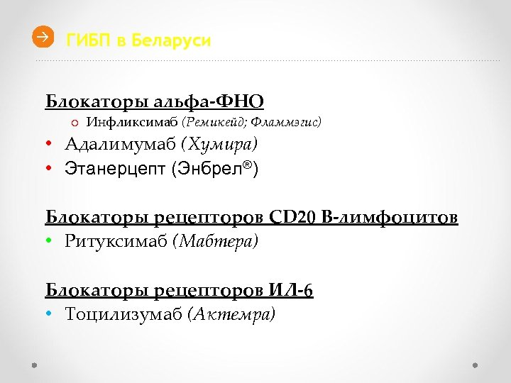 ГИБП в Беларуси Блокаторы альфа-ФНО o Инфликсимаб (Ремикейд; Фламмэгис) • Адалимумаб (Хумира) • Этанерцепт
