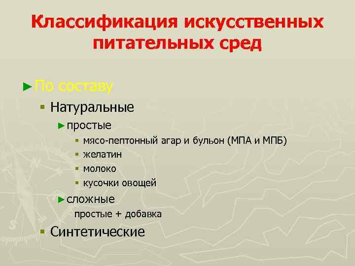Классификация искусственных питательных сред ► По составу § Натуральные ►простые § мясо-пептонный агар и