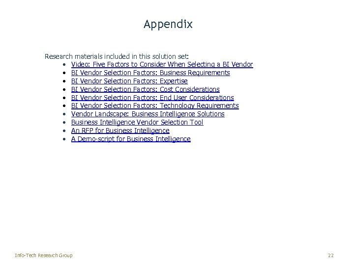 Appendix Research materials included in this solution set: • Video: Five Factors to Consider