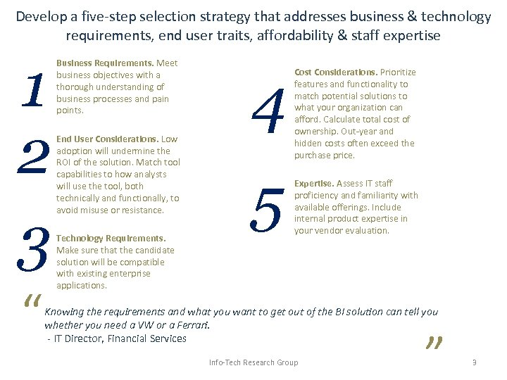Develop a five-step selection strategy that addresses business & technology requirements, end user traits,