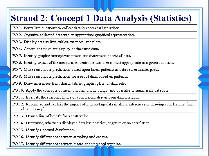 Strand 2: Concept 1 Data Analysis (Statistics) PO 1. Formulate questions to collect data