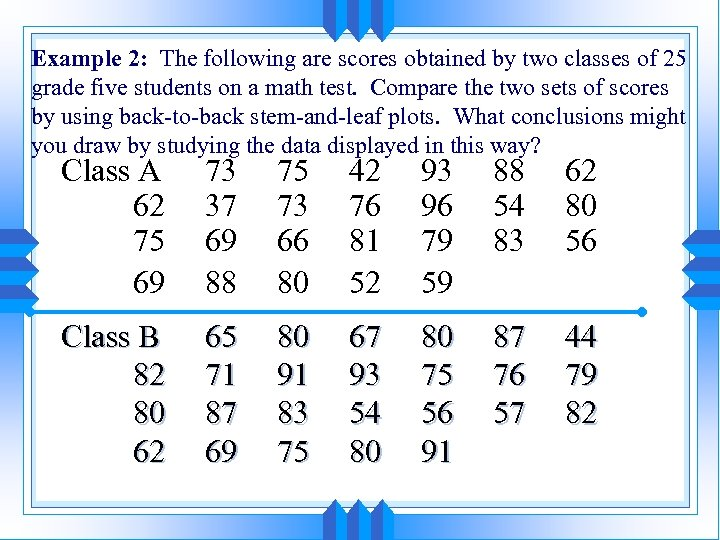 Example 2: The following are scores obtained by two classes of 25 grade five