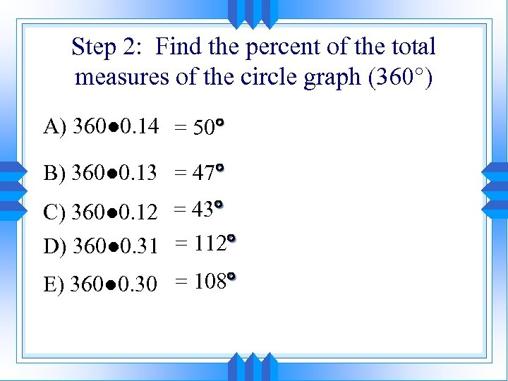 Step 2: Find the percent of the total measures of the circle graph (360