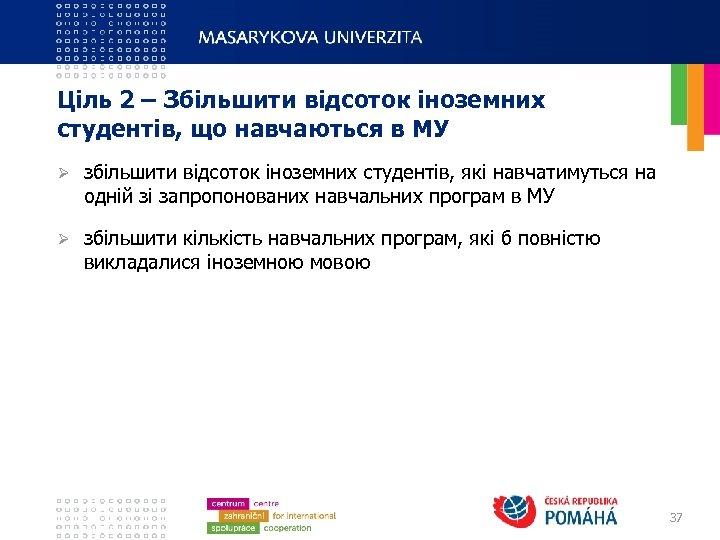 Ціль 2 – Збільшити відсоток іноземних студентів, що навчаються в МУ Ø збільшити відсоток