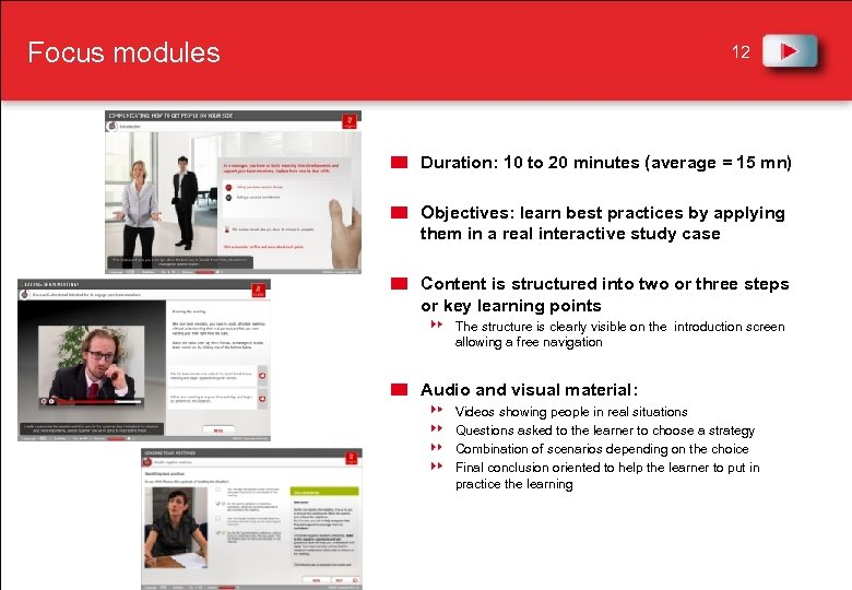 Focus modules 12 Duration: 10 to 20 minutes (average = 15 mn) Objectives: learn