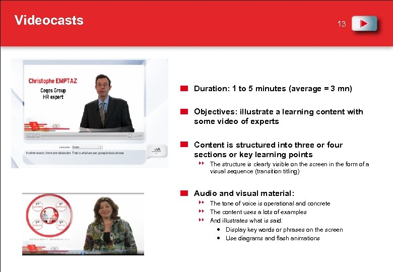 Videocasts 13 Duration: 1 to 5 minutes (average = 3 mn) Objectives: illustrate a