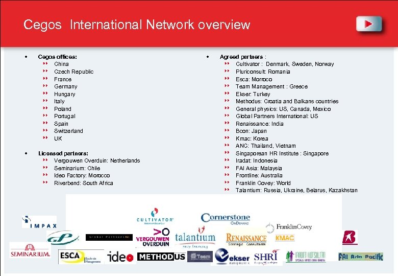 Cegos International Network overview Cegos offices: China Czech Republic France Germany Hungary Italy Poland