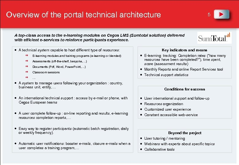 Overview of the portal technical architecture 5 A top-class access to the e-learning modules