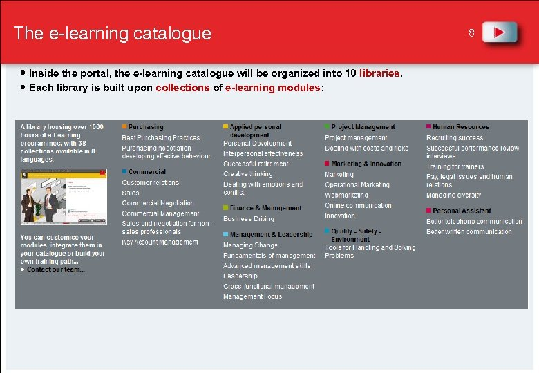 The e-learning catalogue Inside the portal, the e-learning catalogue will be organized into 10