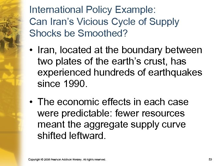 International Policy Example: Can Iran's Vicious Cycle of Supply Shocks be Smoothed? • Iran,