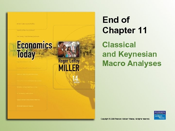 End of Chapter 11 Classical and Keynesian Macro Analyses
