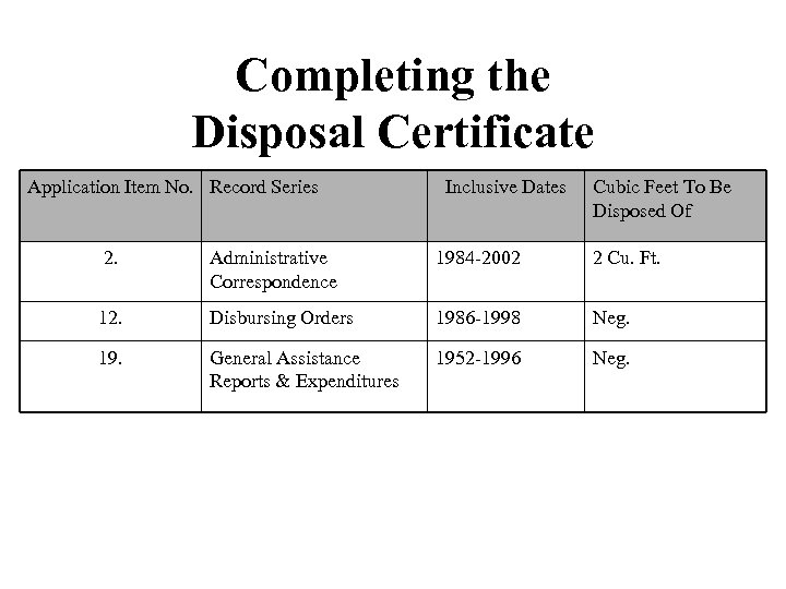 Completing the Disposal Certificate Application Item No. Record Series Inclusive Dates Cubic Feet To