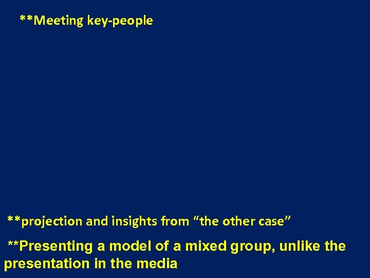"""**Meeting key-people **projection and insights from """"the other case"""" **Presenting a model of a"""