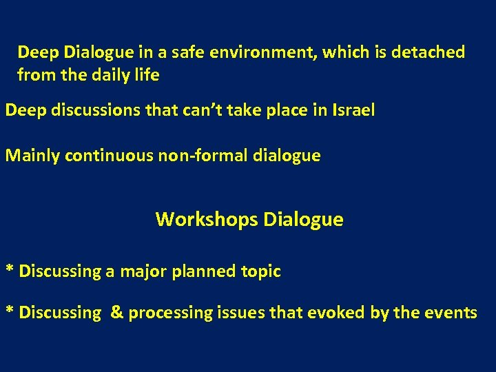 Deep Dialogue in a safe environment, which is detached from the daily life Deep