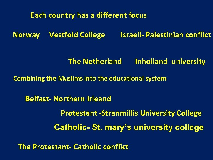 Each country has a different focus Norway Vestfold College Israeli- Palestinian conflict The Netherland