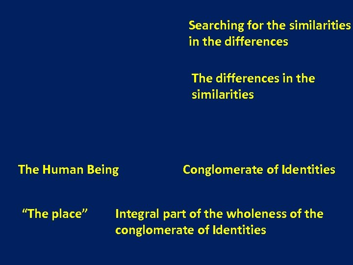 Searching for the similarities in the differences The differences in the similarities The Human