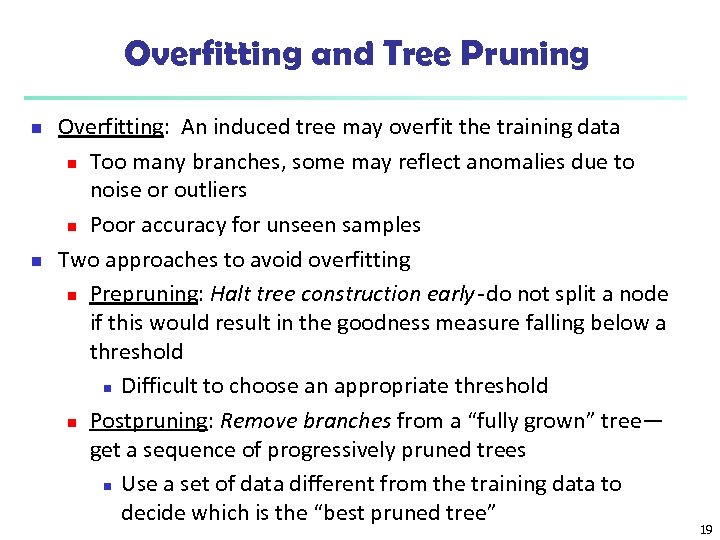 Overfitting and Tree Pruning n n Overfitting: An induced tree may overfit the training