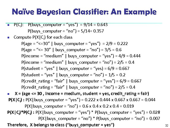 "Naïve Bayesian Classifier: An Example P(Ci): P(buys_computer = ""yes"") = 9/14 = 0. 643"