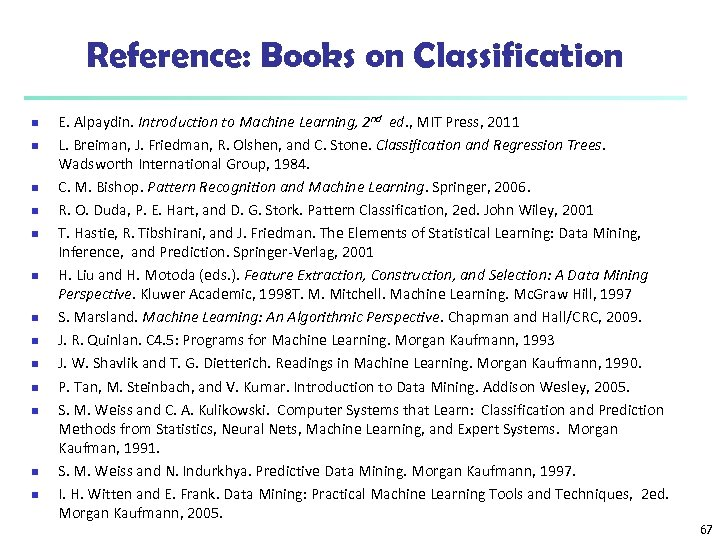 Reference: Books on Classification n n n E. Alpaydin. Introduction to Machine Learning, 2
