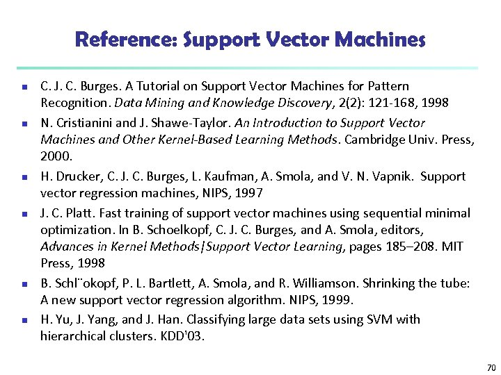 Reference: Support Vector Machines n n n C. J. C. Burges. A Tutorial on
