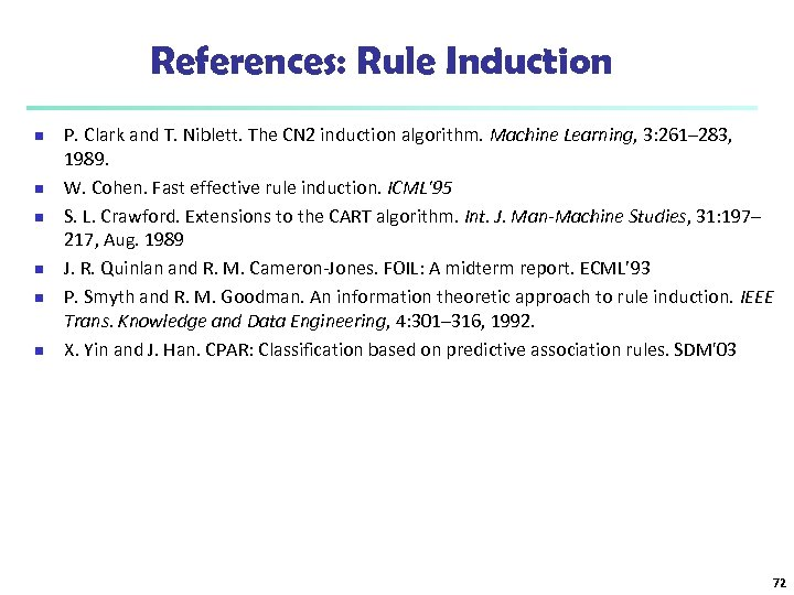 References: Rule Induction n n n P. Clark and T. Niblett. The CN 2