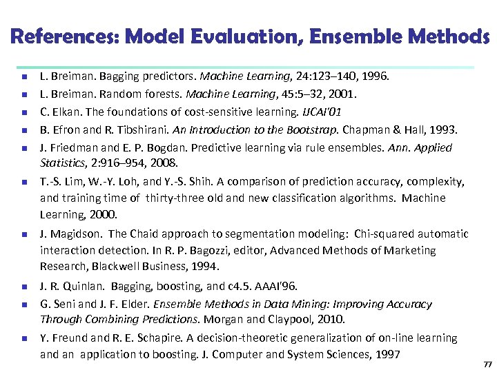 References: Model Evaluation, Ensemble Methods n n n n n L. Breiman. Bagging predictors.
