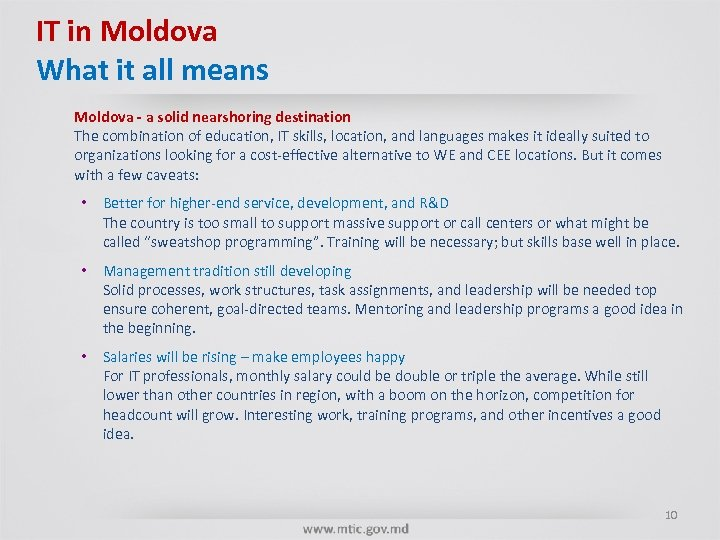 IT in Moldova What it all means Moldova - a solid nearshoring destination The