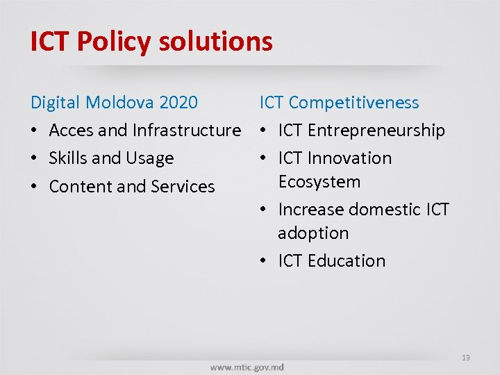 ICT Policy solutions Digital Moldova 2020 ICT Competitiveness • Acces and Infrastructure • ICT