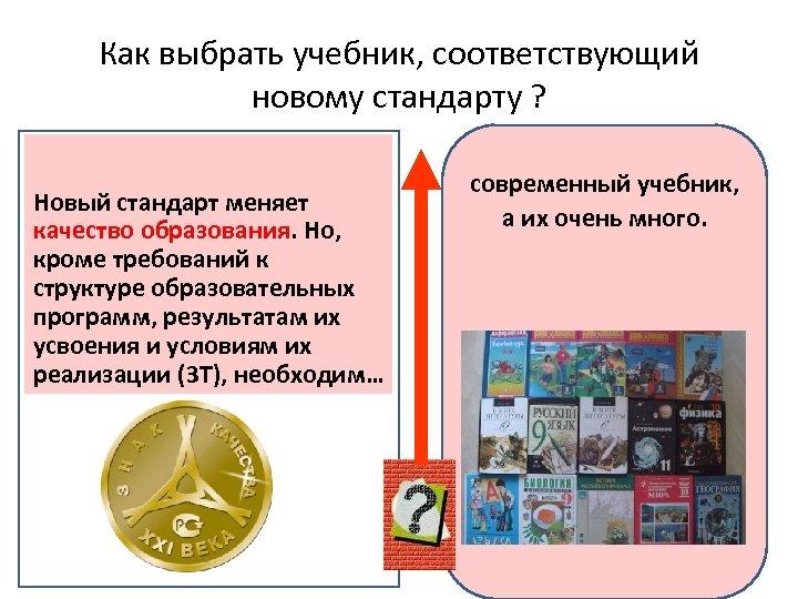 Как выбрать учебник, соответствующий новому стандарту ? Новый стандарт меняет качество образования. Но, образования