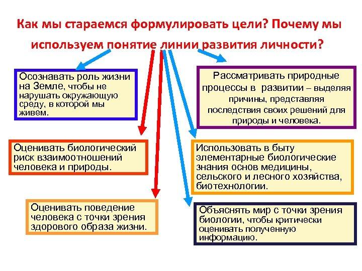 Как мы стараемся формулировать цели? Почему мы используем понятие линии развития личности? Осознавать роль