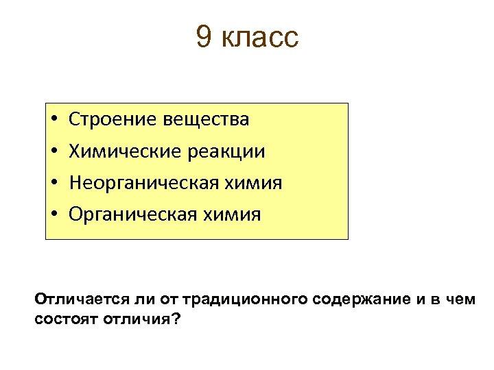 9 класс • • Строение вещества Химические реакции Неорганическая химия Отличается ли от традиционного