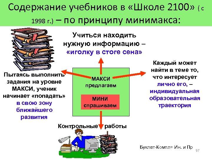 Содержание учебников в «Школе 2100» ( с 1998 г. ) – по принципу минимакса: