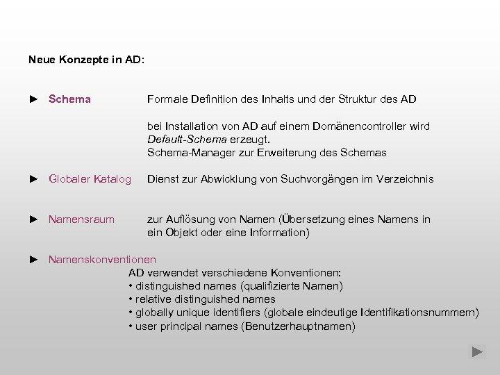 Neue Konzepte in AD: ► Schema Formale Definition des Inhalts und der Struktur des
